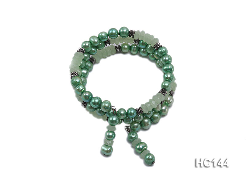 3 strand green freshwater pearl and jade bracelet big Image 1