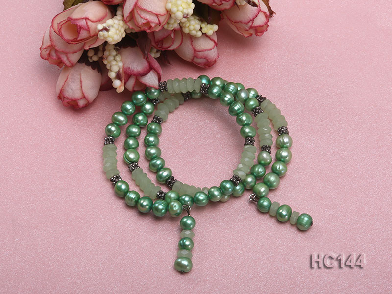 3 strand green freshwater pearl and jade bracelet big Image 2