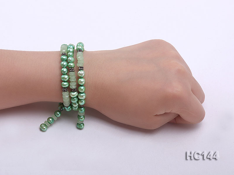 3 strand green freshwater pearl and jade bracelet big Image 4