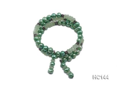 3 strand green freshwater pearl and jade bracelet HC144 Image 1