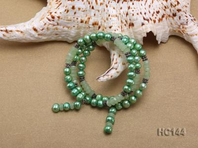 3 strand green freshwater pearl and jade bracelet HC144 Image 3