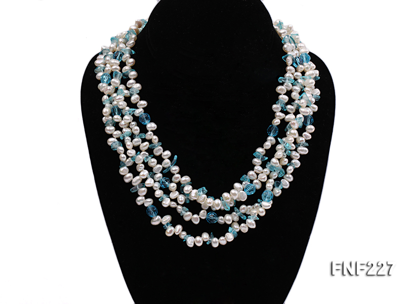 Four-strand 6mm White Freshwater Pearl Necklace with Blue Crystal Chips big Image 2