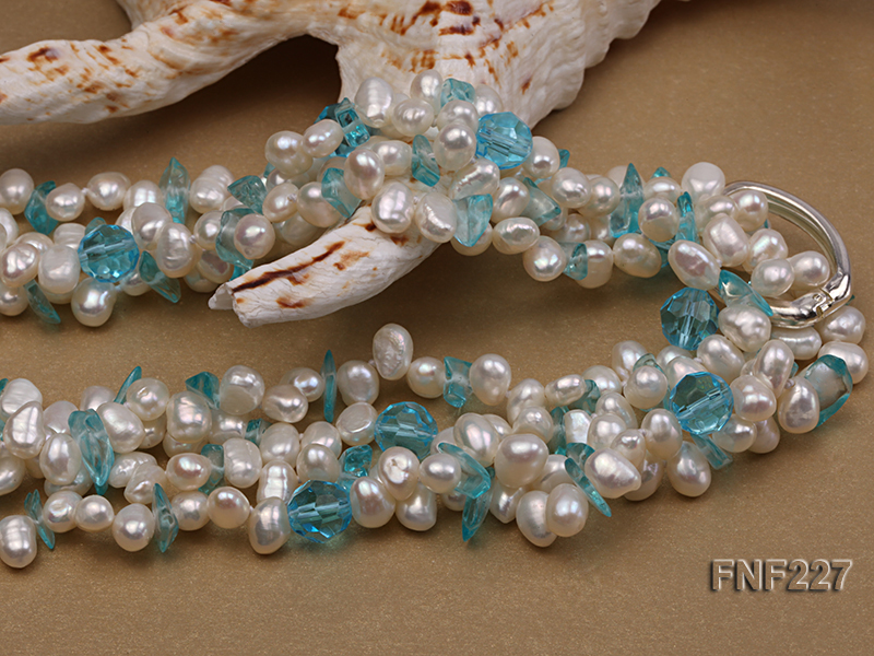 Four-strand 6mm White Freshwater Pearl Necklace with Blue Crystal Chips big Image 3