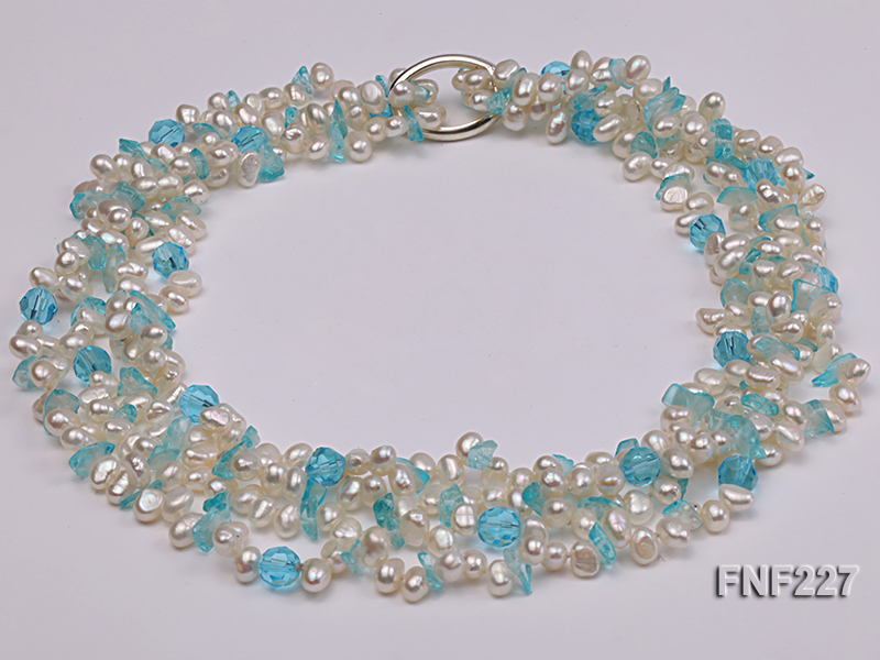 Four-strand 6mm White Freshwater Pearl Necklace with Blue Crystal Chips big Image 4