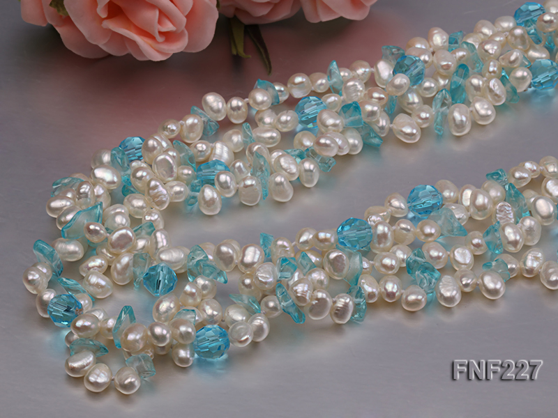 Four-strand 6mm White Freshwater Pearl Necklace with Blue Crystal Chips big Image 5