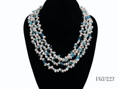 Four-strand 6mm White Freshwater Pearl Necklace with Blue Crystal Chips FNF227 Image 2