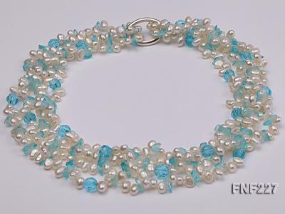 Four-strand 6mm White Freshwater Pearl Necklace with Blue Crystal Chips FNF227 Image 4