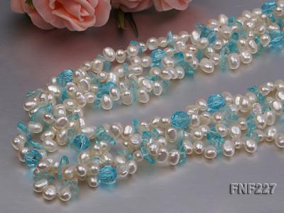 Four-strand 6mm White Freshwater Pearl Necklace with Blue Crystal Chips FNF227 Image 5