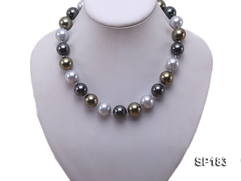 16mm colorful round seashell pearl necklace big Image 5