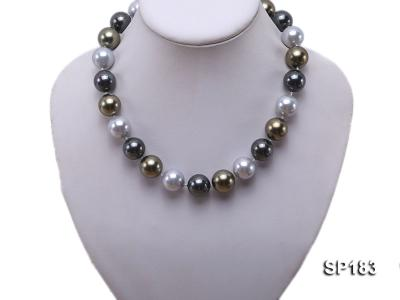 16mm colorful round seashell pearl necklace SP183 Image 5
