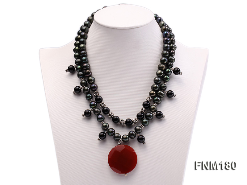 double-strand black freshwater pearl necklace with agate pendant  big Image 1