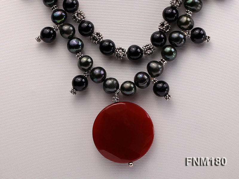 double-strand black freshwater pearl necklace with agate pendant  big Image 2
