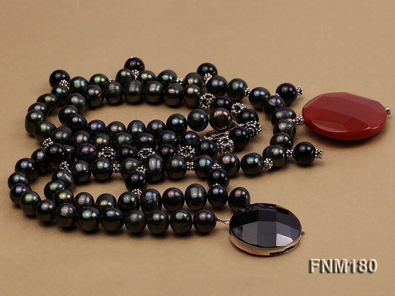 double-strand black freshwater pearl necklace with agate pendant  big Image 3