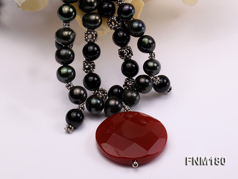 double-strand black freshwater pearl necklace with agate pendant  big Image 5