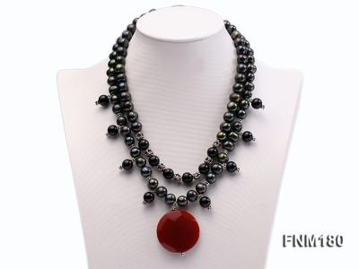 double-strand black freshwater pearl necklace with agate pendant  FNM180 Image 1