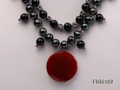 double-strand black freshwater pearl necklace with agate pendant  FNM180 Image 2