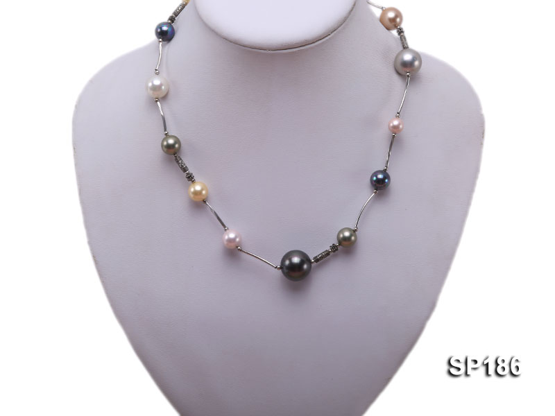 8-16mm colorful round seashell pearl station necklace big Image 1