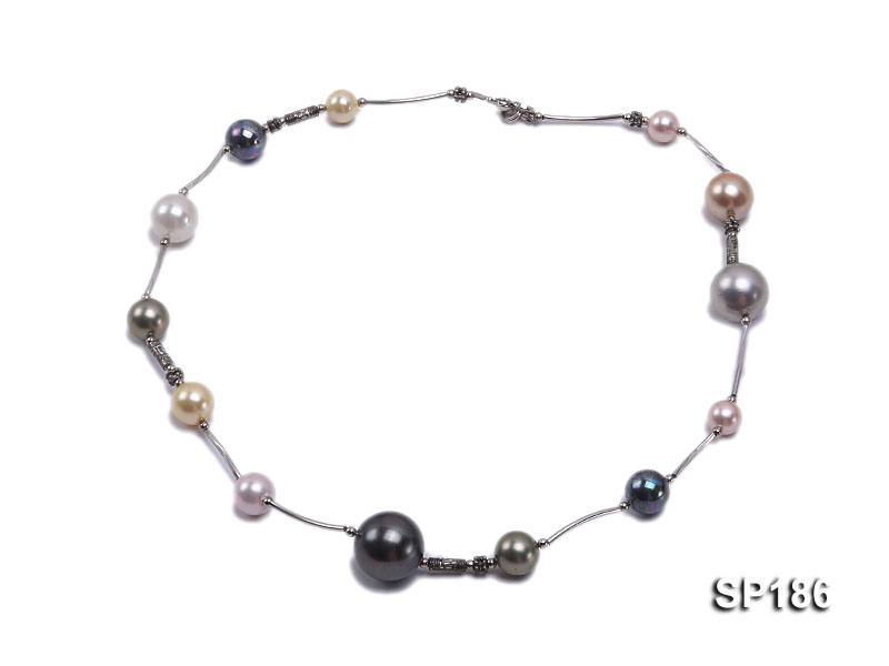8-16mm colorful round seashell pearl station necklace big Image 2
