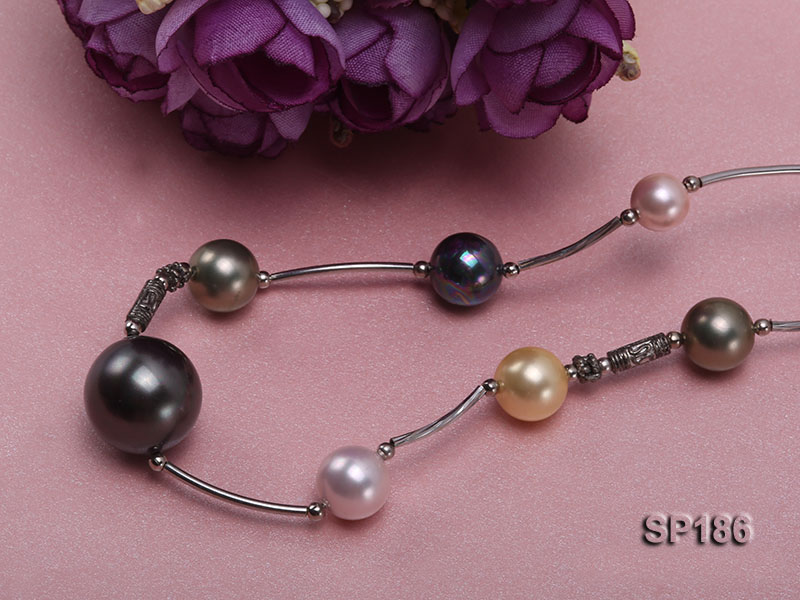 8-16mm colorful round seashell pearl station necklace big Image 3