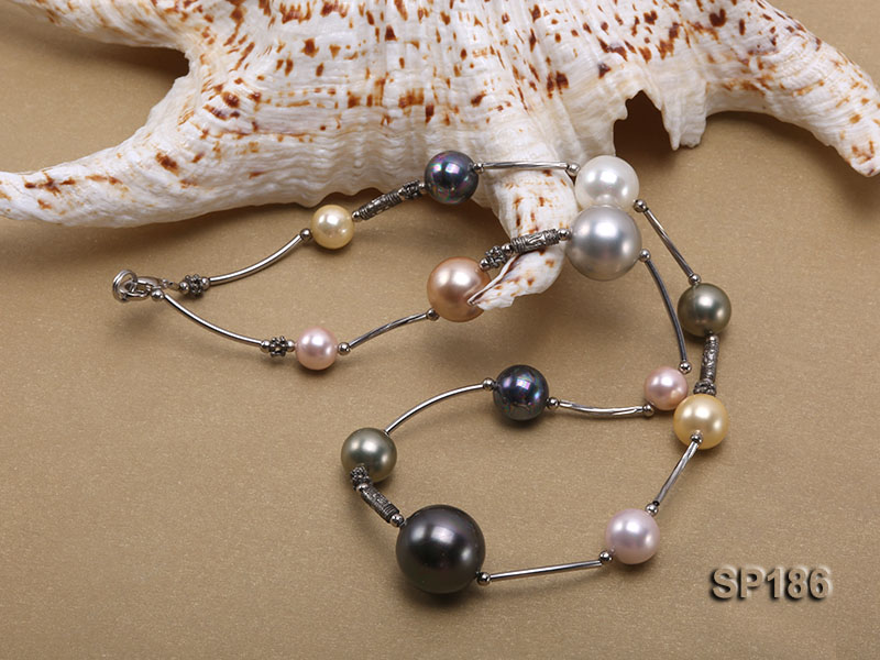8-16mm colorful round seashell pearl station necklace big Image 5