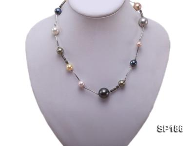 8-16mm colorful round seashell pearl station necklace SP186 Image 1