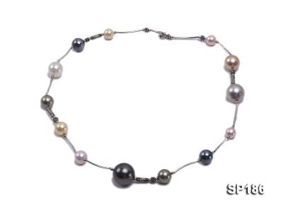 8-16mm colorful round seashell pearl station necklace SP186 Image 2