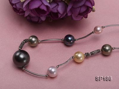 8-16mm colorful round seashell pearl station necklace SP186 Image 3