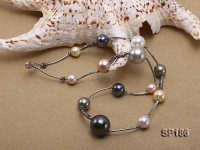 8-16mm colorful round seashell pearl station necklace SP186 Image 5