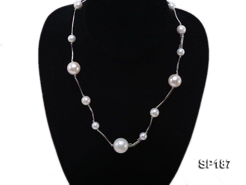 8-16mm white round seashell pearl station necklace big Image 1