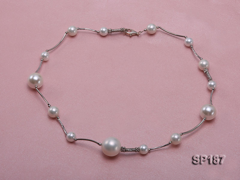 8-16mm white round seashell pearl station necklace big Image 2