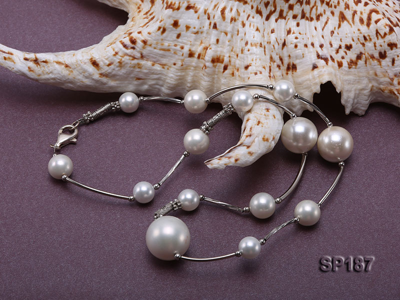 8-16mm white round seashell pearl station necklace big Image 5
