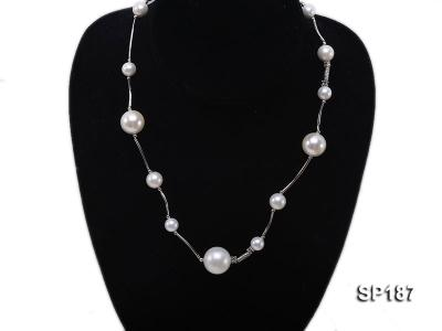 8-16mm white round seashell pearl station necklace SP187 Image 1