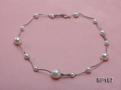 8-16mm white round seashell pearl station necklace SP187 Image 2