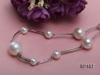 8-16mm white round seashell pearl station necklace SP187 Image 3