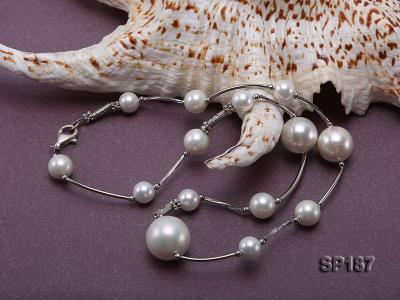 8-16mm white round seashell pearl station necklace SP187 Image 5