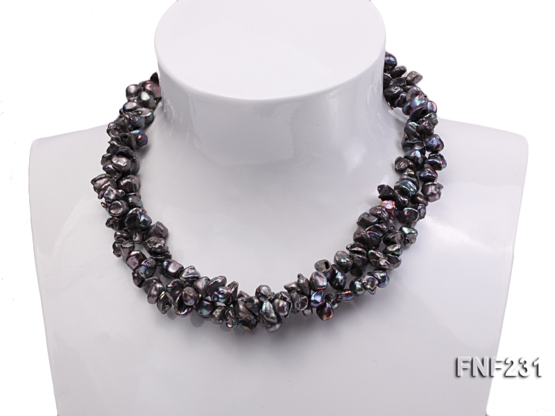 17 Inches Three-strand Black Freshwater Keshi Pearl Necklace big Image 3