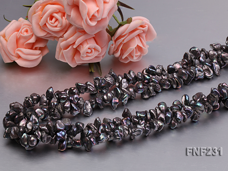 17 Inches Three-strand Black Freshwater Keshi Pearl Necklace big Image 4
