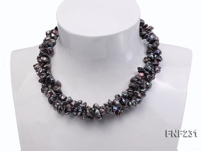 17 Inches Three-strand Black Freshwater Keshi Pearl Necklace FNF231 Image 3
