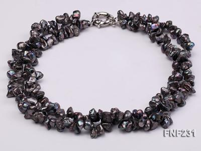 17 Inches Three-strand Black Freshwater Keshi Pearl Necklace FNF231 Image 1