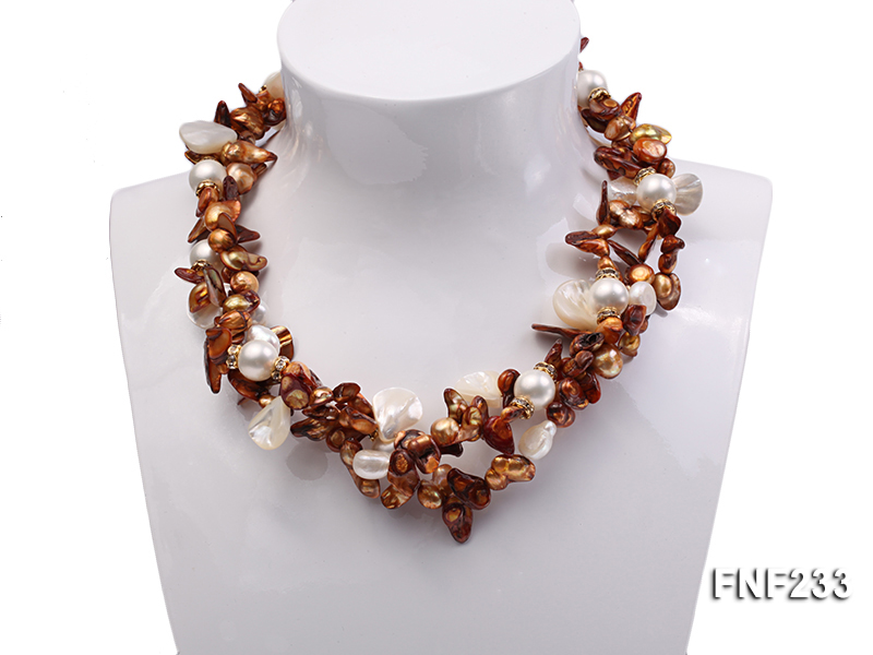 Three-strand Coffee Baroque Freshwater Pearl Necklace with White Shell Pearls and Rhinestone big Image 1