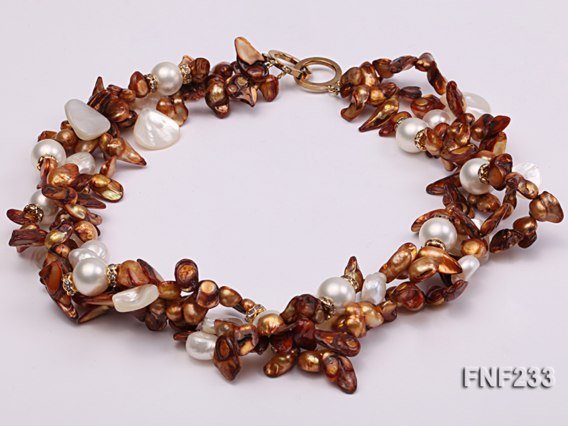 Three-strand Coffee Baroque Freshwater Pearl Necklace with White Shell Pearls and Rhinestone big Image 3