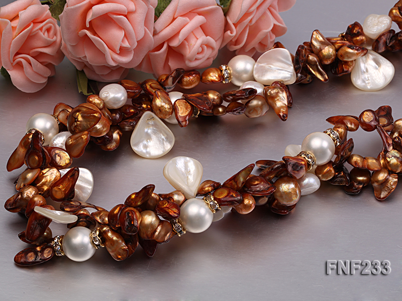 Three-strand Coffee Baroque Freshwater Pearl Necklace with White Shell Pearls and Rhinestone big Image 4