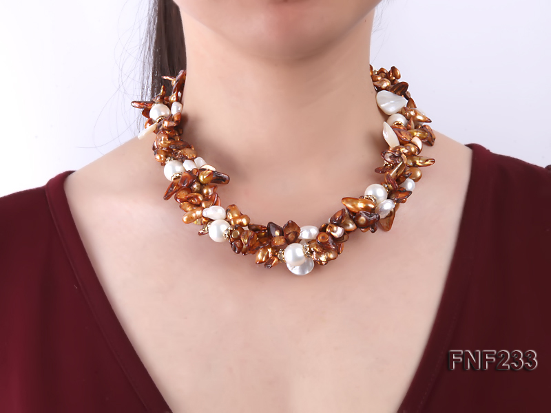 Three-strand Coffee Baroque Freshwater Pearl Necklace with White Shell Pearls and Rhinestone big Image 2