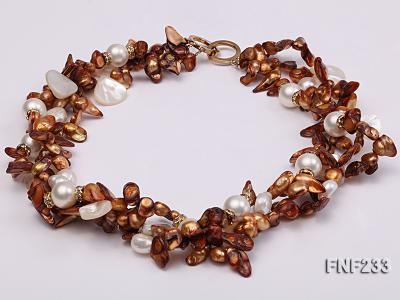 Three-strand Coffee Baroque Freshwater Pearl Necklace with White Shell Pearls and Rhinestone FNF233 Image 3