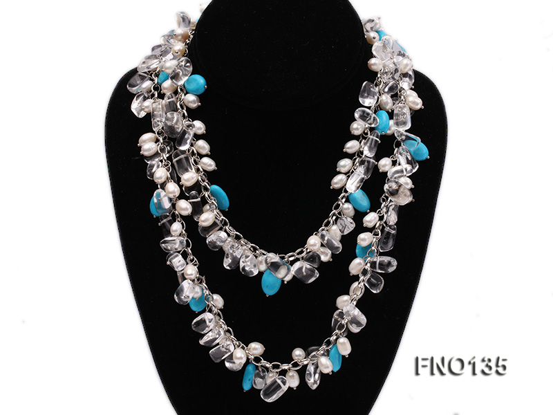 6x7-10x14mm white freshwater cultured pearl and blue turquoise necklace big Image 2