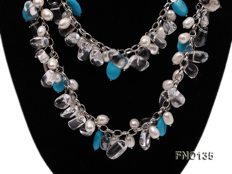 6x7-10x14mm white freshwater cultured pearl and blue turquoise necklace big Image 3