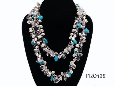 6x7-10x14mm white freshwater cultured pearl and blue turquoise necklace FNO135 Image 2