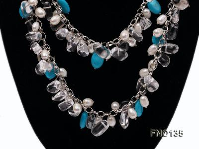 6x7-10x14mm white freshwater cultured pearl and blue turquoise necklace FNO135 Image 3