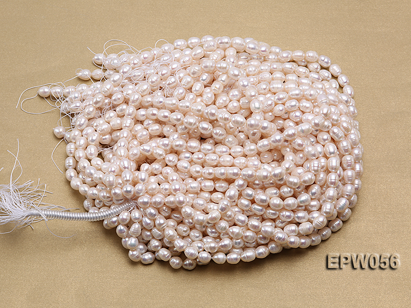 Wholesale 8.5-9.5mm Classic White Rice-shaped Freshwater Pearl String big Image 4