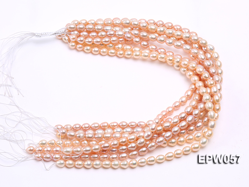 Wholesale 8x10.5mm Pink & Lavender Rice-shaped Freshwater Pearl String big Image 4